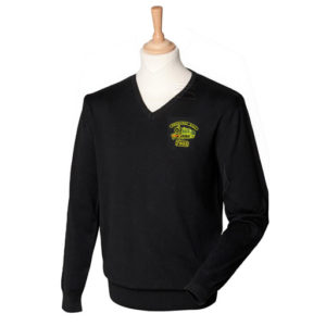 Mens Formarke Hall V Neck Sweatshirt in Black
