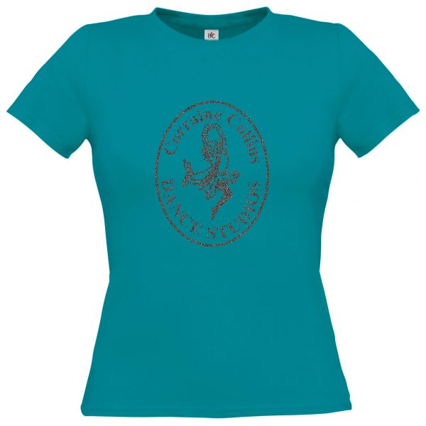Teal Corraine Collins T-Shirt with logo in Tungsten