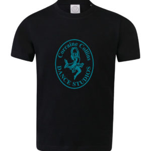 Black Corraine Collins T-Shirt with Teal logo